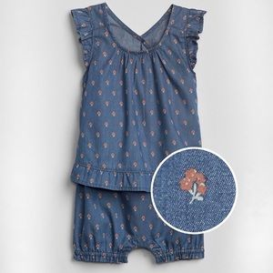 Chambray Baby Gap Floral One Piece